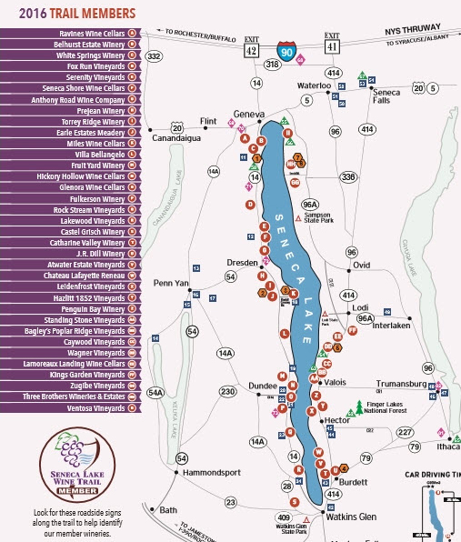 Seneca Lake Wine Trail Map