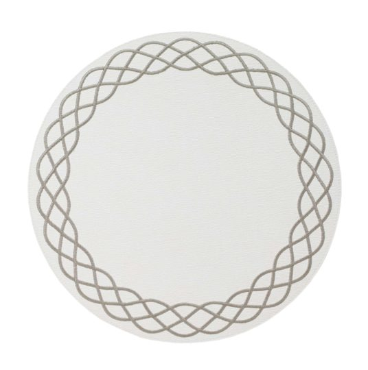"""Bodrum Helix White Silver (Set of 6) Easy Care Round Placemats 15"""" (38.1cm)"""