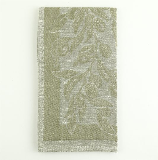 Tessitura Pardi Ulivo/Olive Ivory Rustica Linen Large Italian Kitchen Tea Towel