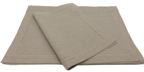 """Ulster Linen Casual Dining Natural Hemstitched Linen Placemats (Set of 8) 13"""" x 19"""" (33cm x 48cm)"""